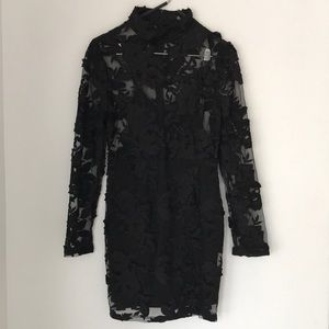 Missguided High Neck Embroidered Lace Dress